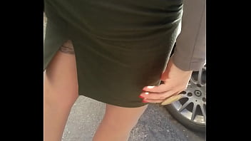 Visible stockings in the street part 1