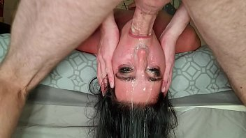 Extreme brutal facefuck with throat pie