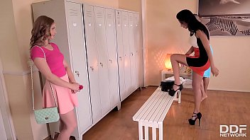 Double foot fucking threesome with leggy Shalina Devine & teen Lady Bug