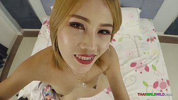 Skinny Thai tramp with braces begs for my seed