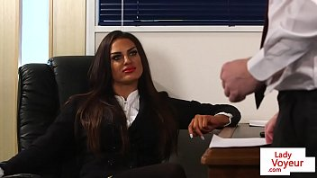 CFNM office babe humiliating and instructing