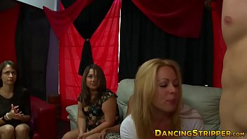 Wild stripper party with horny girls giving sloppy blowjobs