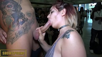 Babe brunette and redhead public blowjob