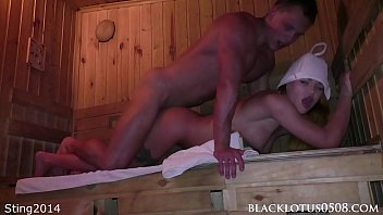 Muscular Man Found the Busty Beauty Masturbating in the Sauna and Hard Fucked Her
