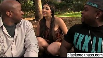 Young brunette meets up with black thugs