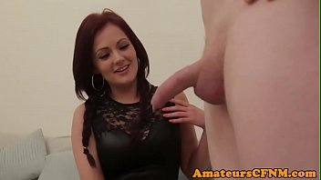Sitting domina humiliates guy during CFNM