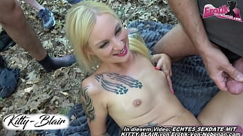 german cum bitch at outdoor gangbang party with users