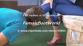 High heel boots fetish Licker for pink pumps