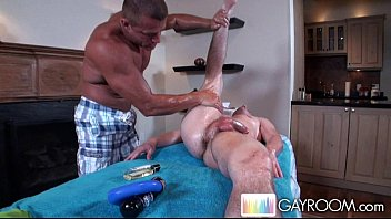 Gay back massages Oily fondling ass