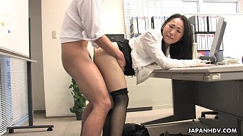 Asian lady shagged by two coworkers in her office Thumb