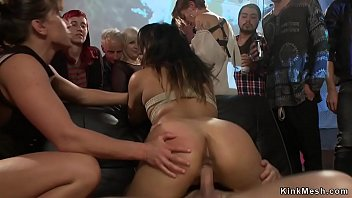 Cock mistress angelina - Asian slave is group fucked in public