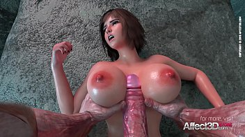 Does blood affect sperm Big tits babe fucked by an ancient monster in a 3d animation