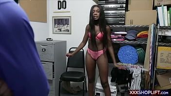 Ebony shoplifter with a retro hairstyle gets rough fucked