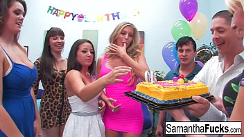 Samantha celebrates her birthday with a wild crazy orgy porno izle
