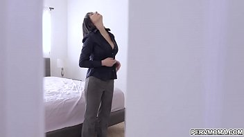 Horny step mom feeling her own big tits