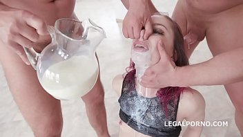 Young Redhead Kira Roller Fantasy Deep Oral and Milk Gargling