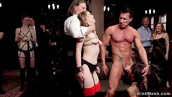 Muscle man orgy - Muscled man banging babes at bdsm party