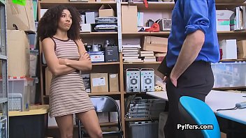 Ebony cutie with curly hair fucked hard in the back office