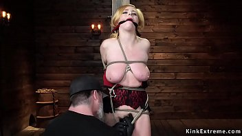 Natural busty MILF is toyed on hogtie