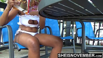 Good cleavage boobs Sheisnovember down blouse areolas exposed in bikini pool side busty black girl cleavage naughty public flashing beautiful curves