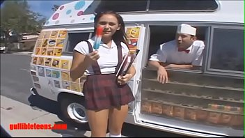Gullibleteens.com icecream truck schoolgirl gets more than icecream in pigtails
