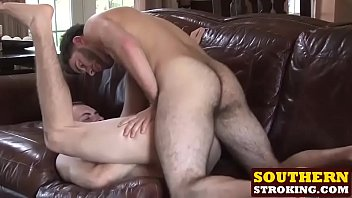Hot Damien and sexy Josh hardcore fucking on the couch