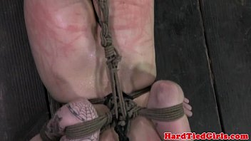 Bdsm skanking - Hogtied skank getting hair bonded