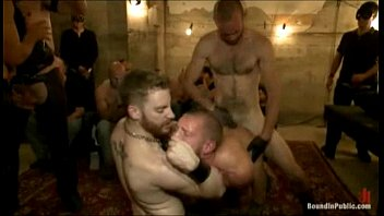 Hot horny gay mob gangbang fucked by party goers
