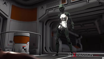Sci-Fi Base Camp. Male Android Plays With A Sexy Ebony On The Exoplanet