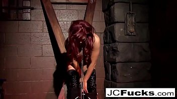 Bound hottie pleases herself while still chained up!