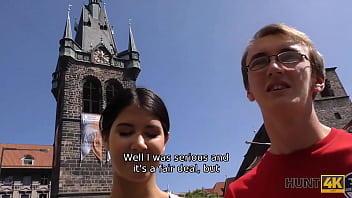 HUNT4K. Svelte brunette cheats on nerdy BF to earn cash for vacation
