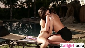 Clit massage lesson by the pool between lesbiansrae-2