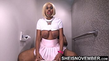 My Anxious Ebony Step Sister Couldn't Wait For Her Boyfriend, So She Fucked Me With Her Tight Ebony Pussy Mounting My BBC, Beautiful Sexy Blonde Ebony Msnovember Lift Her Skirt And Shirt To Ride Step Brother With Big Booty Bouncing On Sheisnovember