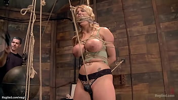 Hogtied suspended busty MILF toyed 5 min