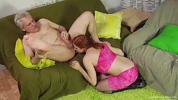 Horny young redhead fucked hard by an older man