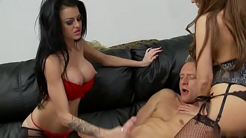 Cocky dude get his two wives dissolve in absolute pleasure nailing them rough