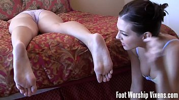 Cherry sneaks in and worships Lady'_s feet