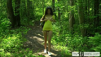 MY18TEENS - Katty West walks naked in the woods, masturbates and pisses