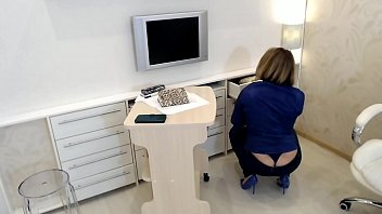 Sensual tease in office