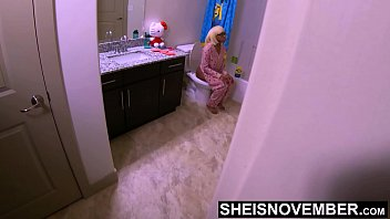 Hiding In My StepDaughters Bathroom Watching Her Piss On The Toilet While My Wife Is In Bed, Taboo Voyeur Unbeknownst To Msnovember BlackPussy Pissing On Sheisnovember