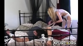 Full length bondage free Great ass worship scenery with breasty babe dominating her guy