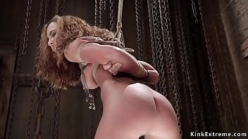 Ginger haired slave gets hot ass spanked