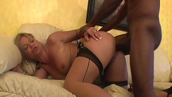 Cum thirsty MILF in stockings is eager to suck and fuck black long cock