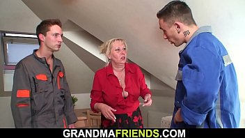Busty old grandma threesome fuck
