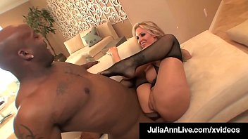 Beautiful Busty Blonde Milf Julia Ann is butt fucked in her tiny asshole by a big black cock, who invites his 3 black brothers to cum on her mature mug! Full Video & Julia Live @ JuliaAnnLive.com!