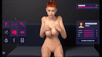 Animated 3D red-haired girl plays with big tits 40 sec