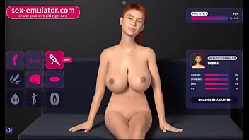 Animated 3D red-haired girl plays with big tits
