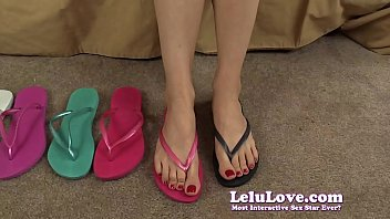 My bare feet closeups while trying on flip flops in bra and panties...