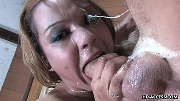 Frail blonde chick munches on a big dick