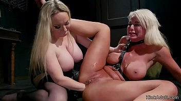 Huge tits blonde mistress whips big tits blonde Milf lesbian then anal fists her